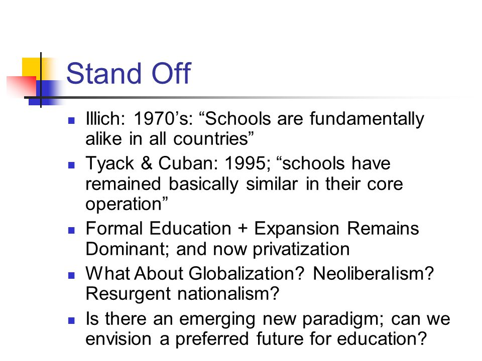 Stand Off Illich: 1970's: Schools are fundamentally alike in all countries Tyack & Cuban: 1995; schools have remained basically similar in their core operation Formal Education + Expansion Remains Dominant; and now privatization What About Globalization.