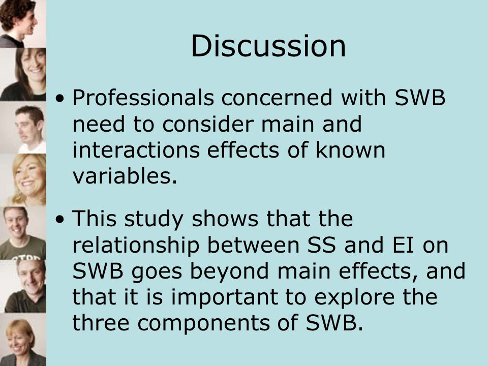 Discussion Professionals concerned with SWB need to consider main and interactions effects of known variables. This study shows that the relationship