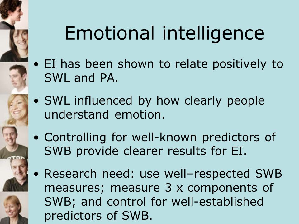 Interactions SWL:SS Significant Other x EI NA: SS Friends x EI Interactions indicate that the relationship between SS and SWB is dependent on the level of EI reported.