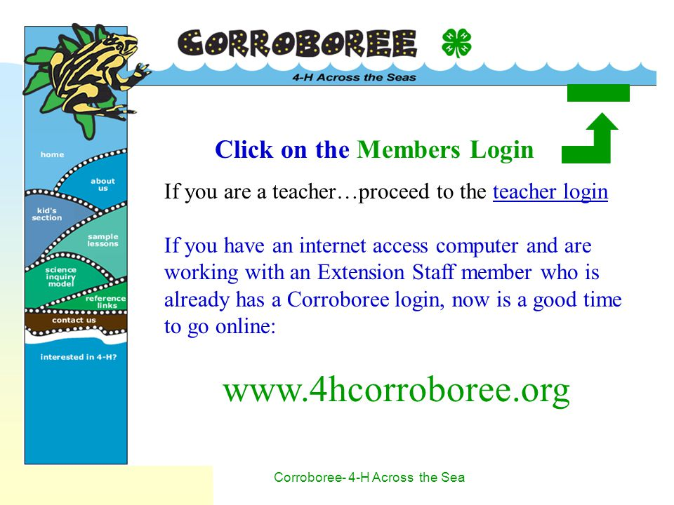 Corroboree- 4-H Across the Sea Click on the Members Login If you are a teacher…proceed to the teacher login If you have an internet access computer and are working with an Extension Staff member who is already has a Corroboree login, now is a good time to go online: www.4hcorroboree.org