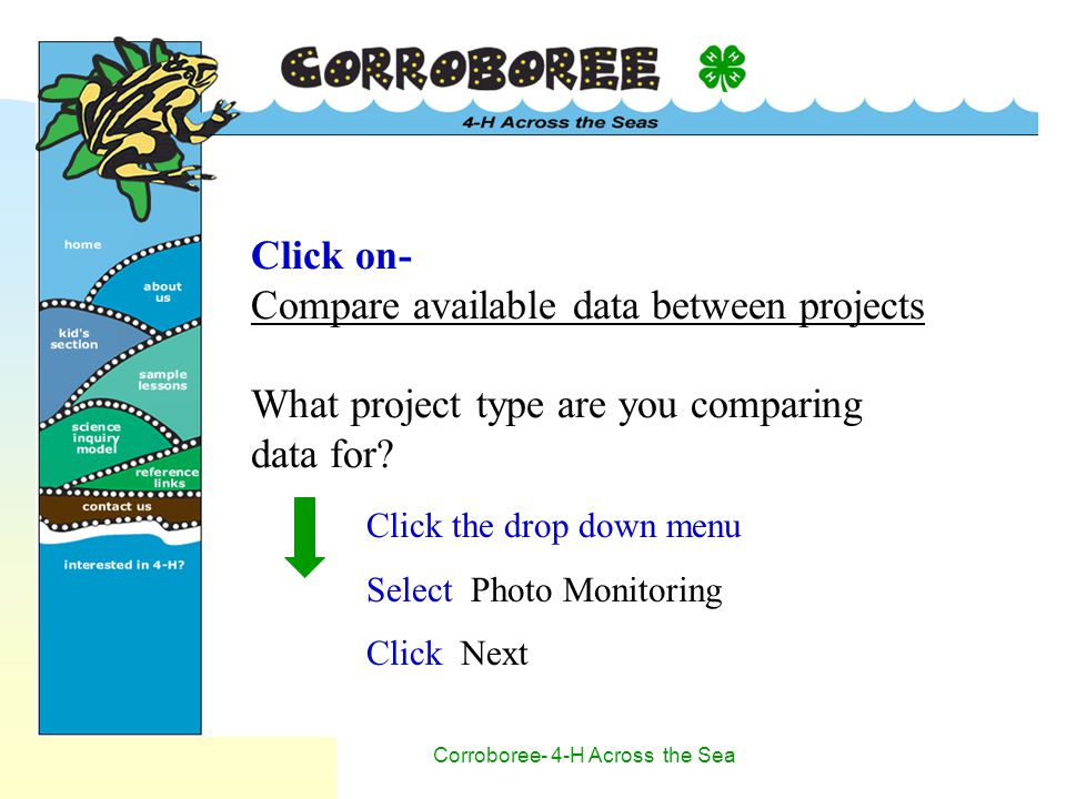 Corroboree- 4-H Across the Sea Click on- Compare available data between projects What project type are you comparing data for.
