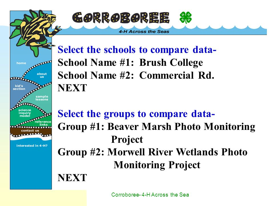 Corroboree- 4-H Across the Sea Select the schools to compare data- School Name #1: Brush College School Name #2: Commercial Rd.
