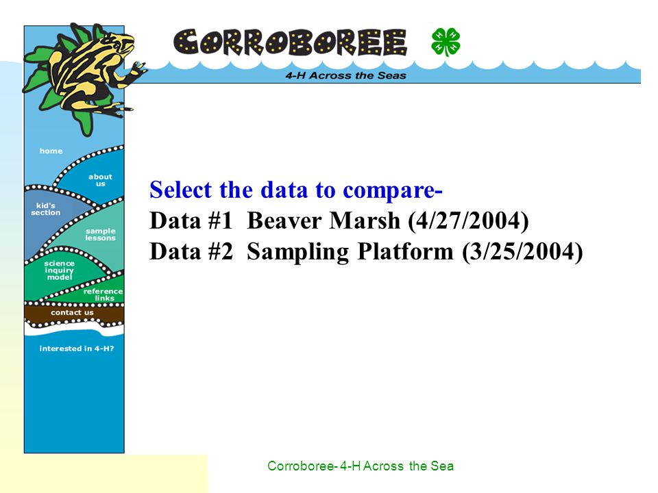 Corroboree- 4-H Across the Sea Select the data to compare- Data #1 Beaver Marsh (4/27/2004) Data #2 Sampling Platform (3/25/2004)
