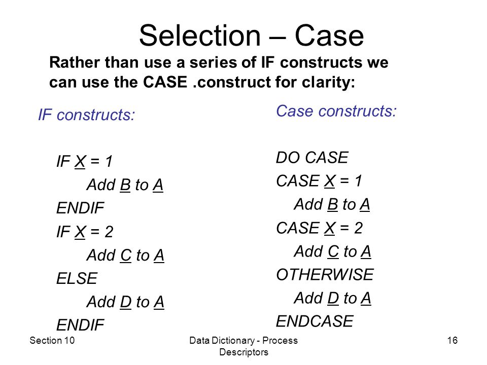 Section 10Data Dictionary - Process Descriptors 16 IF constructs: IF X = 1 Add B to A ENDIF IF X = 2 Add C to A ELSE Add D to A ENDIF Case constructs: DO CASE CASE X = 1 Add B to A CASE X = 2 Add C to A OTHERWISE Add D to A ENDCASE Rather than use a series of IF constructs we can use the CASE.construct for clarity: Selection – Case