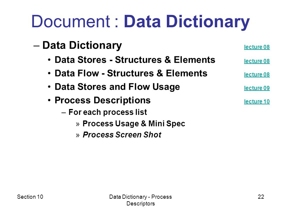 Section 10Data Dictionary - Process Descriptors 22 –Data Dictionary lecture 08 lecture 08 Data Stores - Structures & Elements lecture 08 lecture 08 Data Flow - Structures & Elements lecture 08 lecture 08 Data Stores and Flow Usage lecture 09 lecture 09 Process Descriptions lecture 10 lecture 10 –For each process list »Process Usage & Mini Spec »Process Screen Shot Document : Data Dictionary