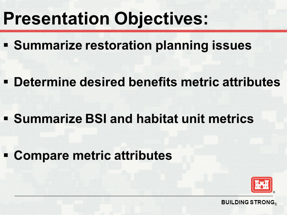 BUILDING STRONG ® Habitat Units 051015 Cost 2025 Attributes -Indirect index to resource quality -Public interest is unclear -Resource scarcity is unclear -Sustainable value added is unclear -Is not commensurate over projects