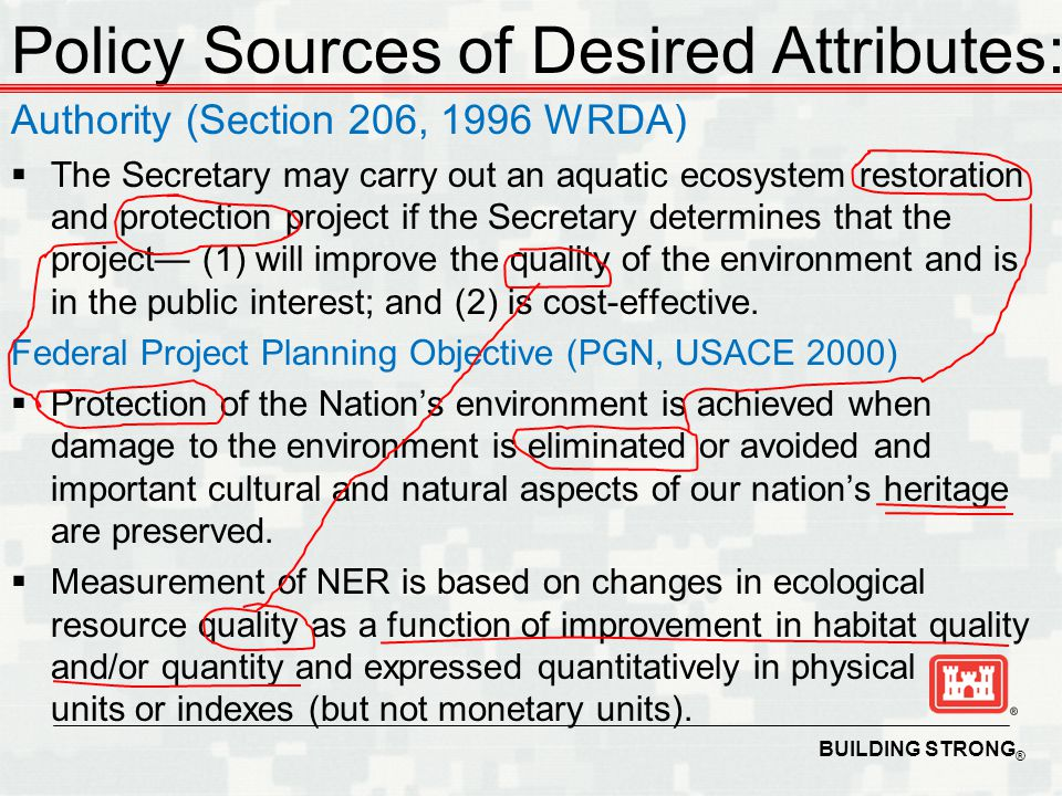 BUILDING STRONG ® Desired output level (public interest, demand) Outputs (supply) (Ecological Resource Quality) Inputs (Habitat Improvements, Costs) Benefits (Value Added) ecological resource quality as a function of improvement in habitat quality and/or quantity