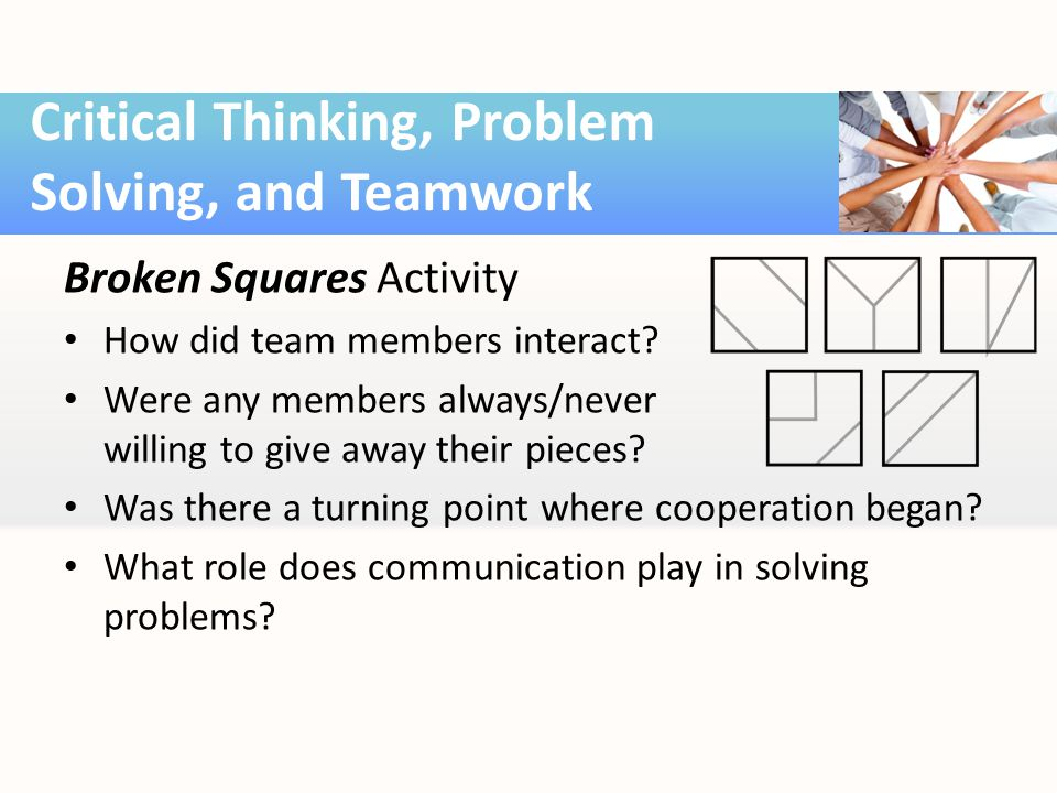 Broken Squares Activity How did team members interact.