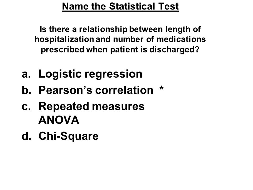 Name the Statistical Test Is there a relationship between length of hospitalization and number of medications prescribed when patient is discharged? a
