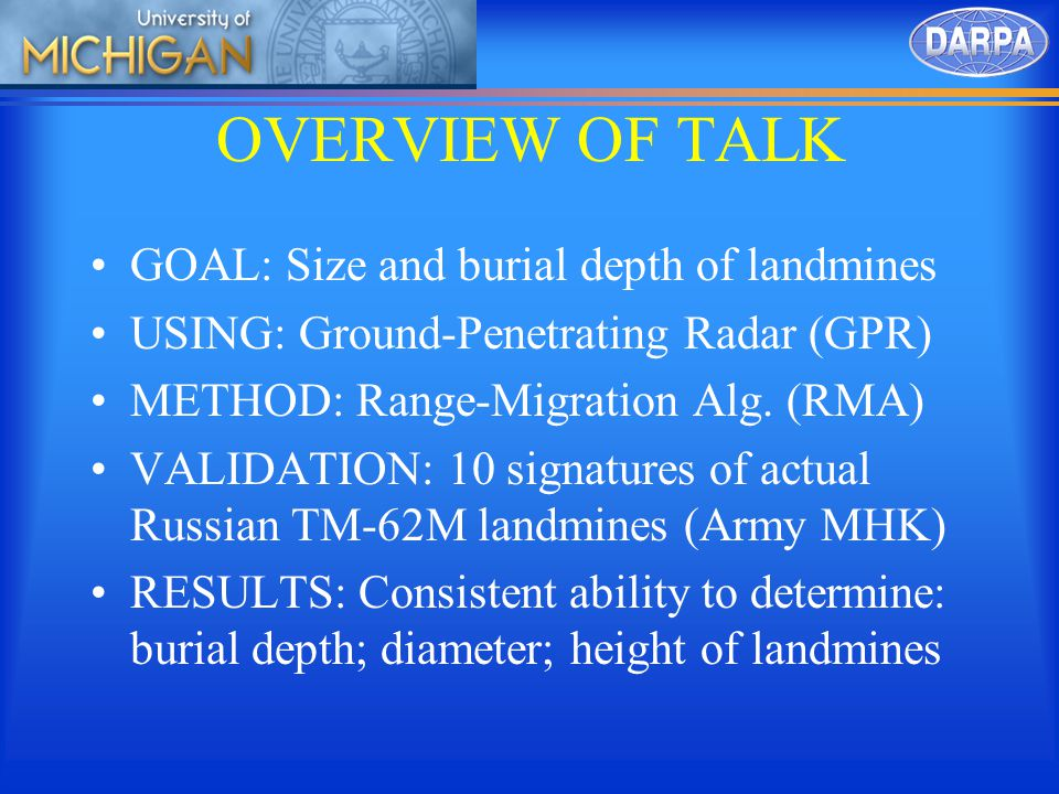 OVERVIEW OF TALK GOAL: Size and burial depth of landmines USING: Ground-Penetrating Radar (GPR) METHOD: Range-Migration Alg.