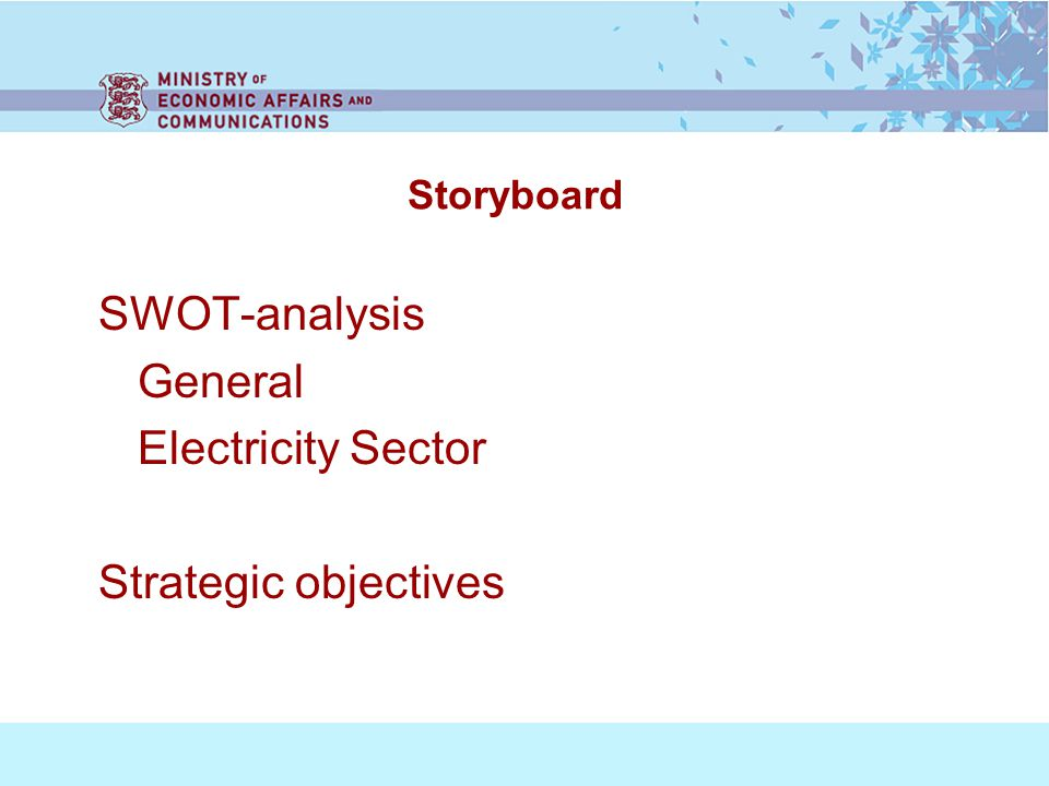 Storyboard SWOT-analysis General Electricity Sector Strategic objectives