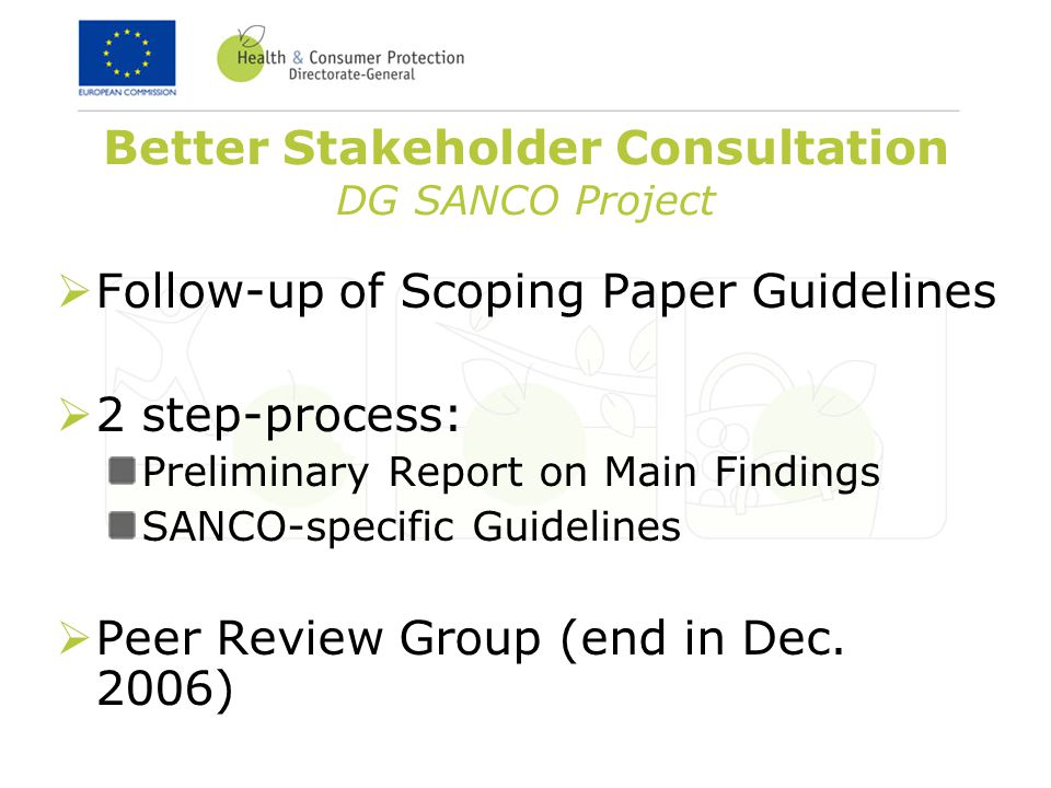 Better Stakeholder Consultation DG SANCO Project  Follow-up of Scoping Paper Guidelines  2 step-process: Preliminary Report on Main Findings SANCO-specific Guidelines  Peer Review Group (end in Dec.