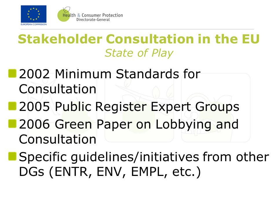 Stakeholder Consultation in the EU State of Play 2002 Minimum Standards for Consultation 2005 Public Register Expert Groups 2006 Green Paper on Lobbying and Consultation Specific guidelines/initiatives from other DGs (ENTR, ENV, EMPL, etc.)