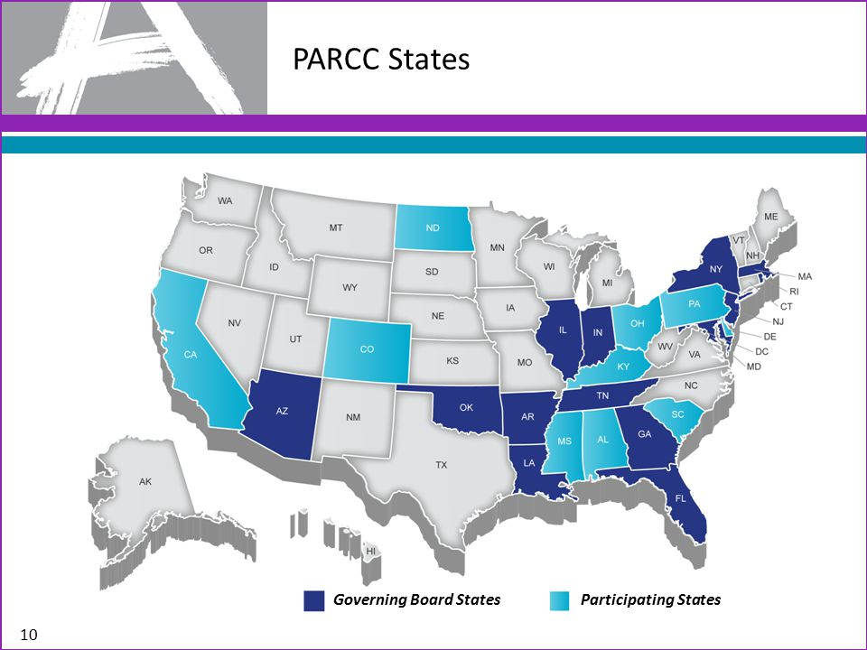 PARCC States 10 Governing Board States Participating States
