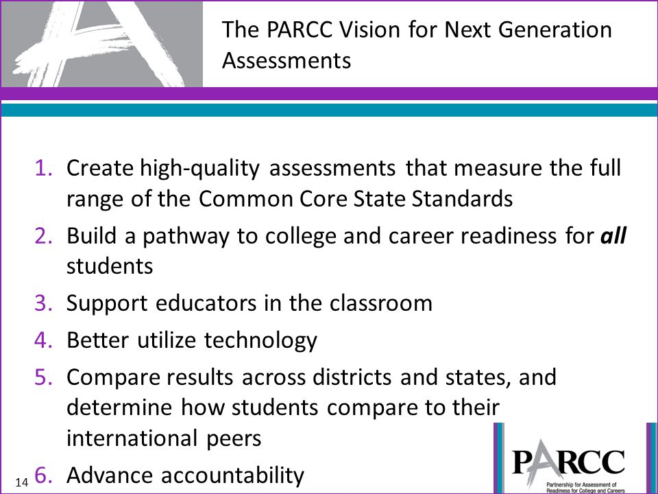1.Create high-quality assessments that measure the full range of the Common Core State Standards 2.Build a pathway to college and career readiness for all students 3.Support educators in the classroom 4.Better utilize technology 5.Compare results across districts and states, and determine how students compare to their international peers 6.Advance accountability 14 The PARCC Vision for Next Generation Assessments