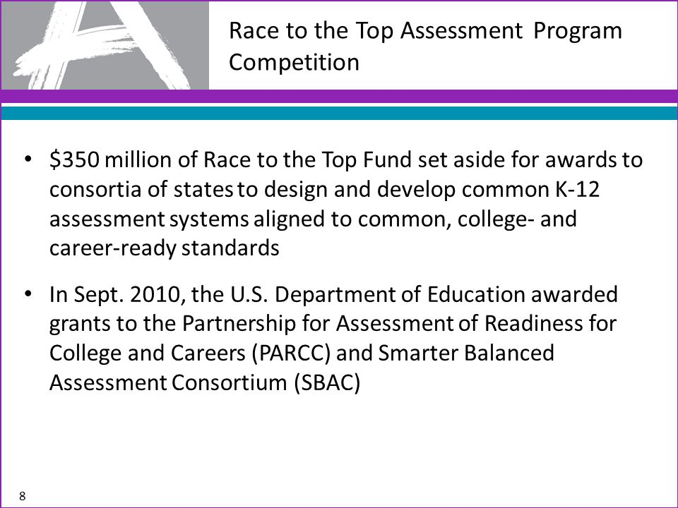 Race to the Top Assessment Program Competition $350 million of Race to the Top Fund set aside for awards to consortia of states to design and develop