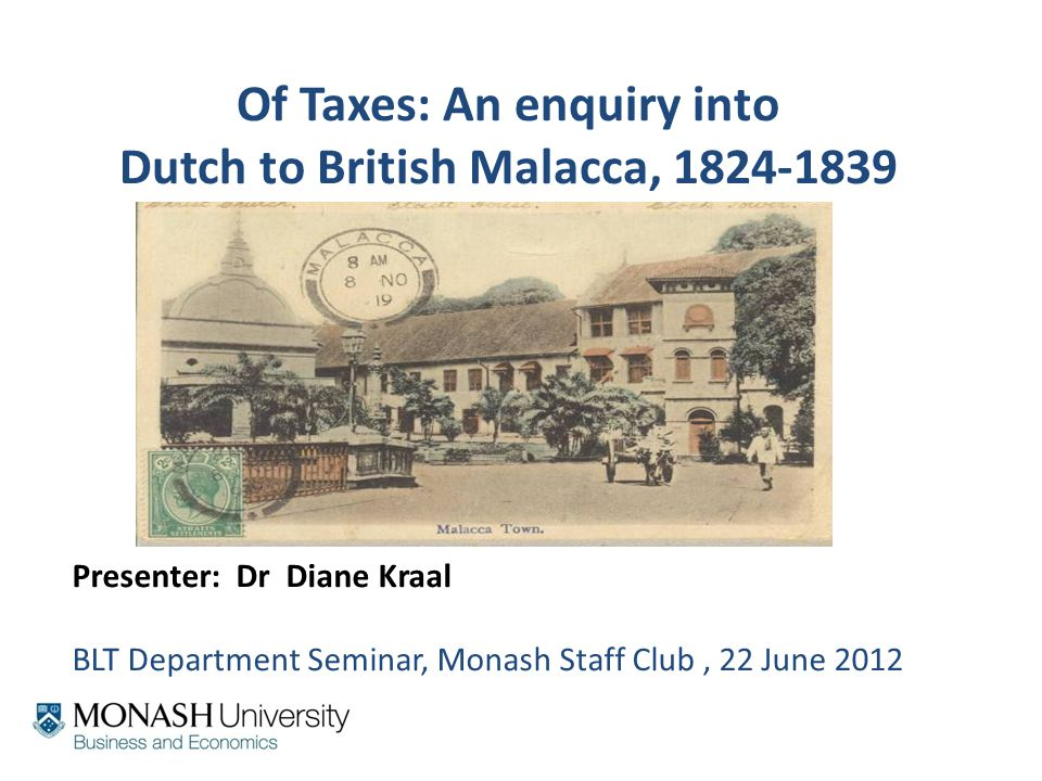 James Mill (1773-1836) EIC employee/ Elements of Political Economy 1821 Mill influenced the land rent system in Malacca Was an 'acolyte' of Adam Smith Mill used David Ricardo's land 'rent doctrine' Rent doctrine – too extreme –dropped by 1836