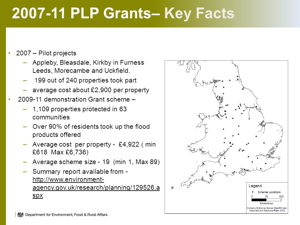 2007-11 PLP Grants– Key Facts 2007 – Pilot projects –Appleby, Bleasdale, Kirkby in Furness Leeds, Morecambe and Uckfield. – 199 out of 240 properties