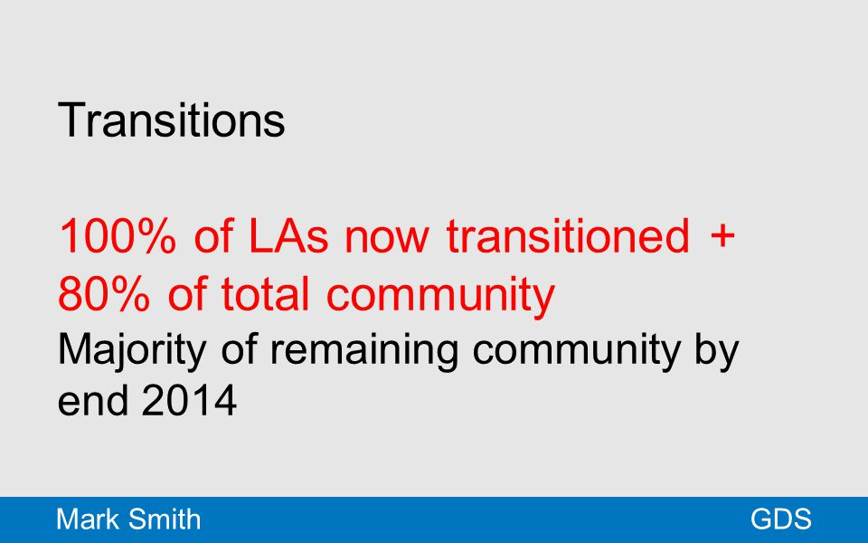 Transitions 100% of LAs now transitioned + 80% of total community Majority of remaining community by end 2014 GDSMark Smith