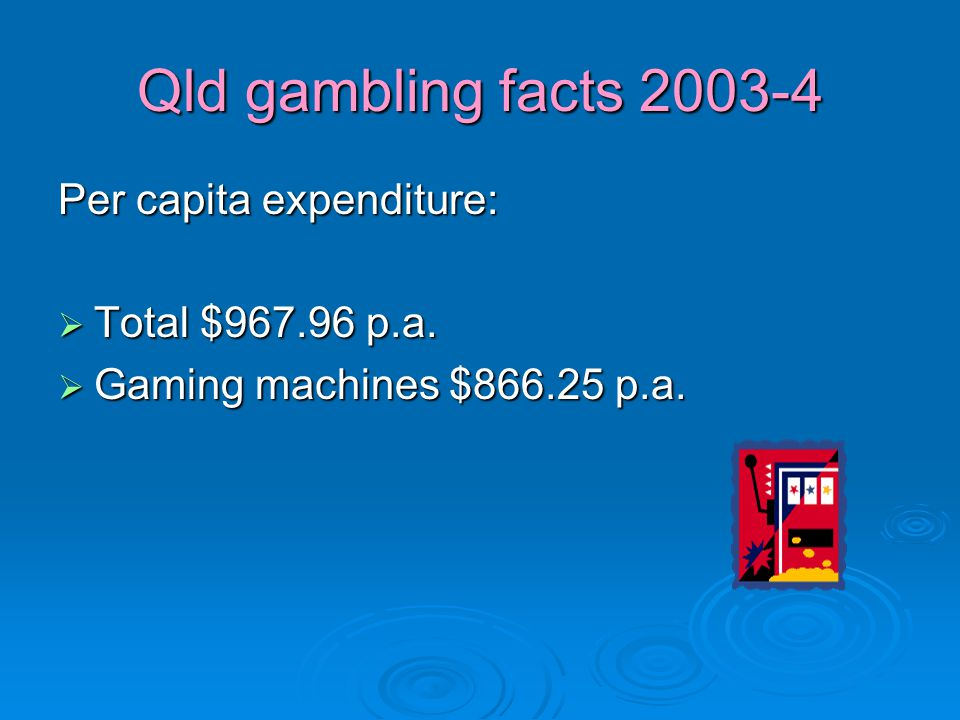 Qld gambling facts 2003-4 Per capita expenditure:  Total $967.96 p.a.