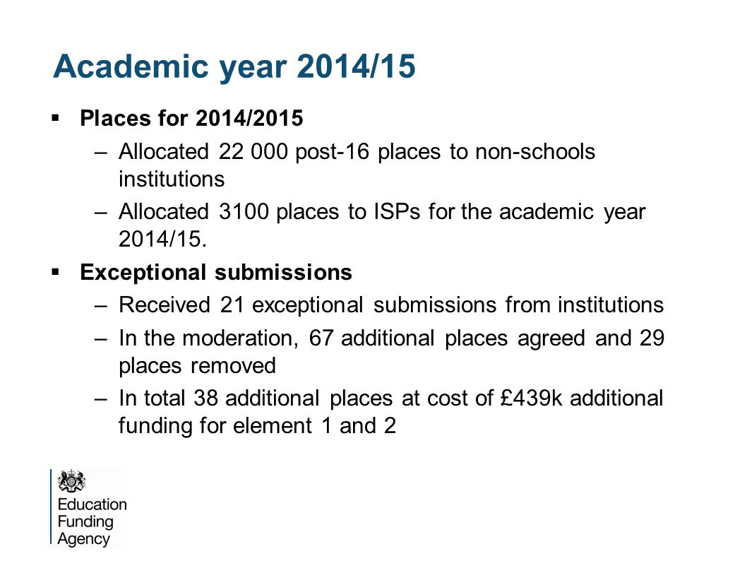 Academic year 2014/15  Places for 2014/2015 –Allocated 22 000 post-16 places to non-schools institutions –Allocated 3100 places to ISPs for the acade