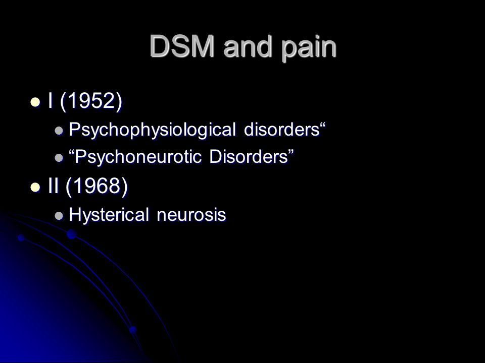 DSM-IV The concept of Somatoform Pain