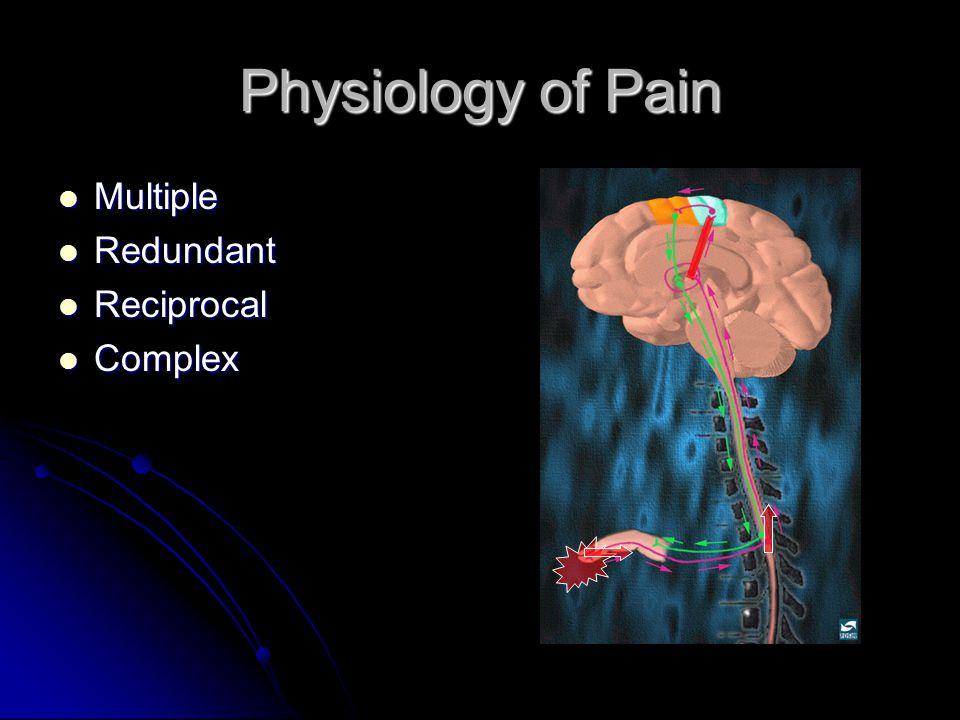 Physiology of Pain Multiple Multiple Redundant Redundant Reciprocal Reciprocal Complex Complex