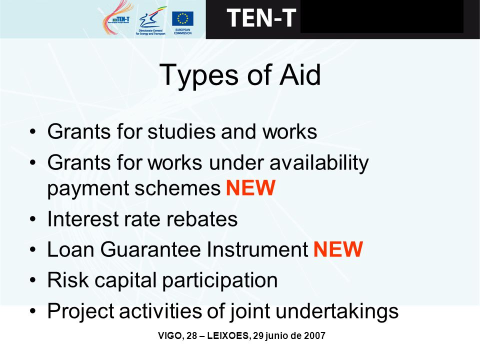 VIGO, 28 – LEIXOES, 29 junio de 2007 Types of Aid Grants for studies and works Grants for works under availability payment schemes NEW Interest rate rebates Loan Guarantee Instrument NEW Risk capital participation Project activities of joint undertakings