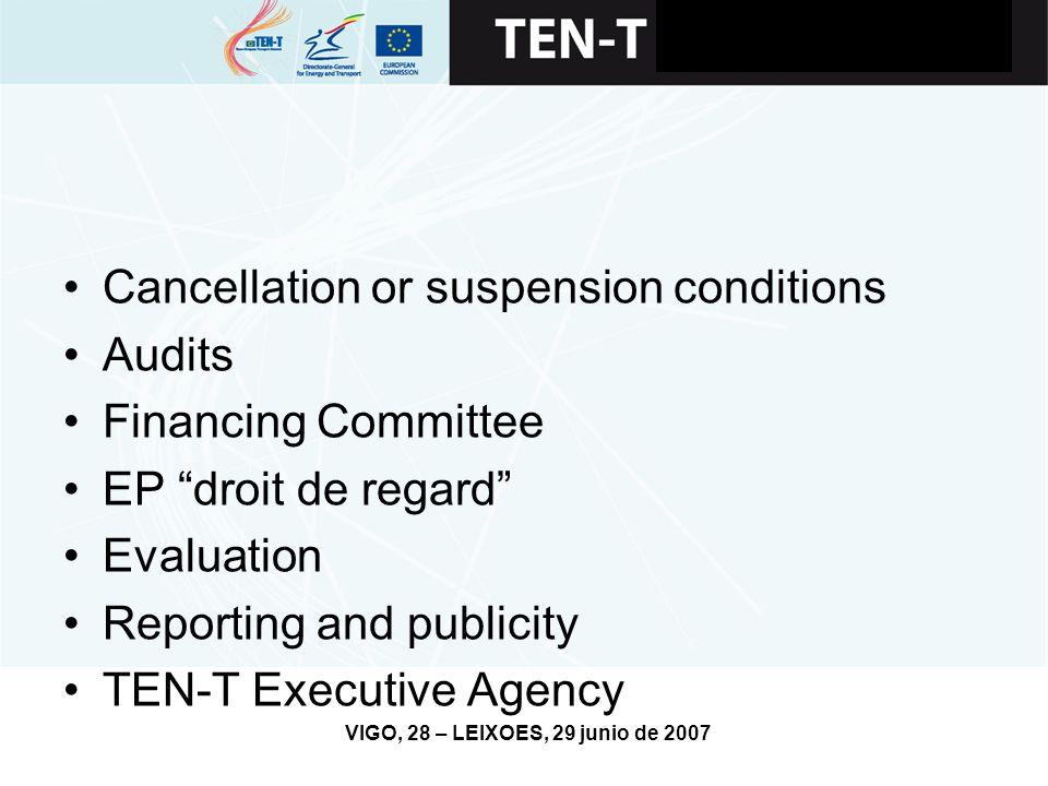 VIGO, 28 – LEIXOES, 29 junio de 2007 Cancellation or suspension conditions Audits Financing Committee EP droit de regard Evaluation Reporting and publicity TEN-T Executive Agency