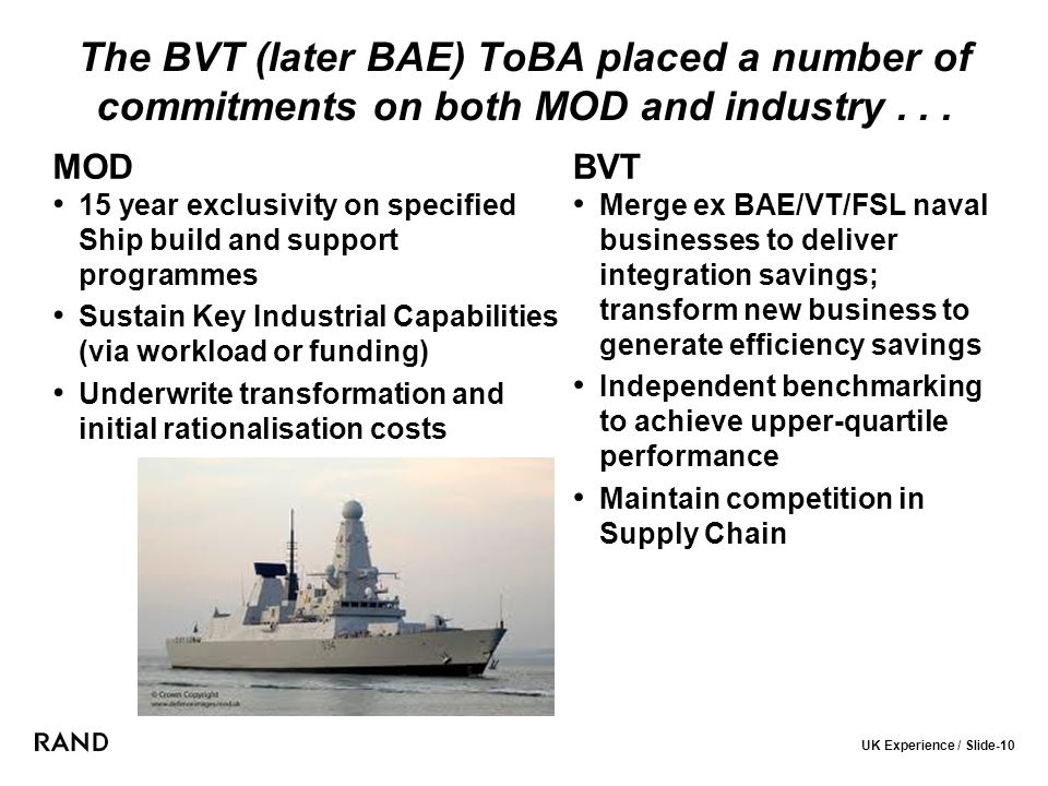 UK Experience / Slide-10 The BVT (later BAE) ToBA placed a number of commitments on both MOD and industry...