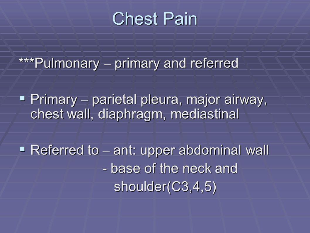 Chest pain  Pleural pain ( pleurodynia)  Intercostal neuritis  Muscular pain  Costochondral – Tietze ' s syndrome  Esophageal  Cardiac  Pericardiac  Aortic