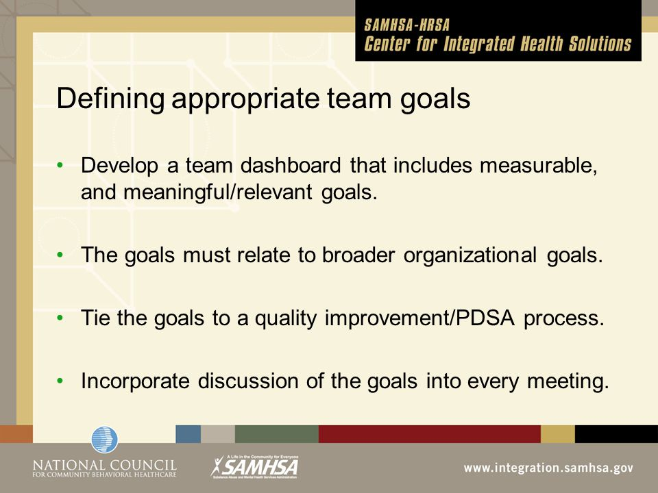 Defining appropriate team goals Develop a team dashboard that includes measurable, and meaningful/relevant goals.