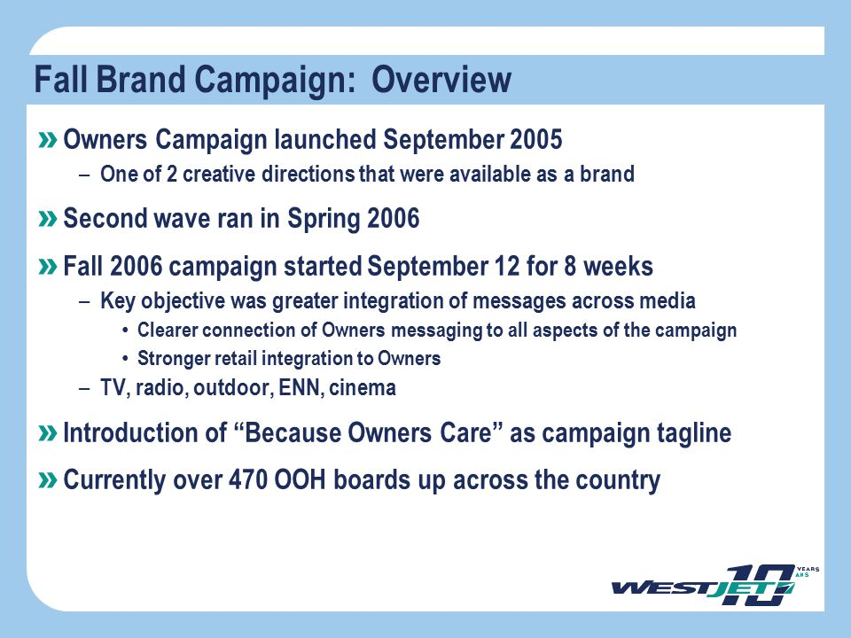 Objective » Owners Campaign launched September 2005 – One of 2 creative directions that were available as a brand » Second wave ran in Spring 2006 » F