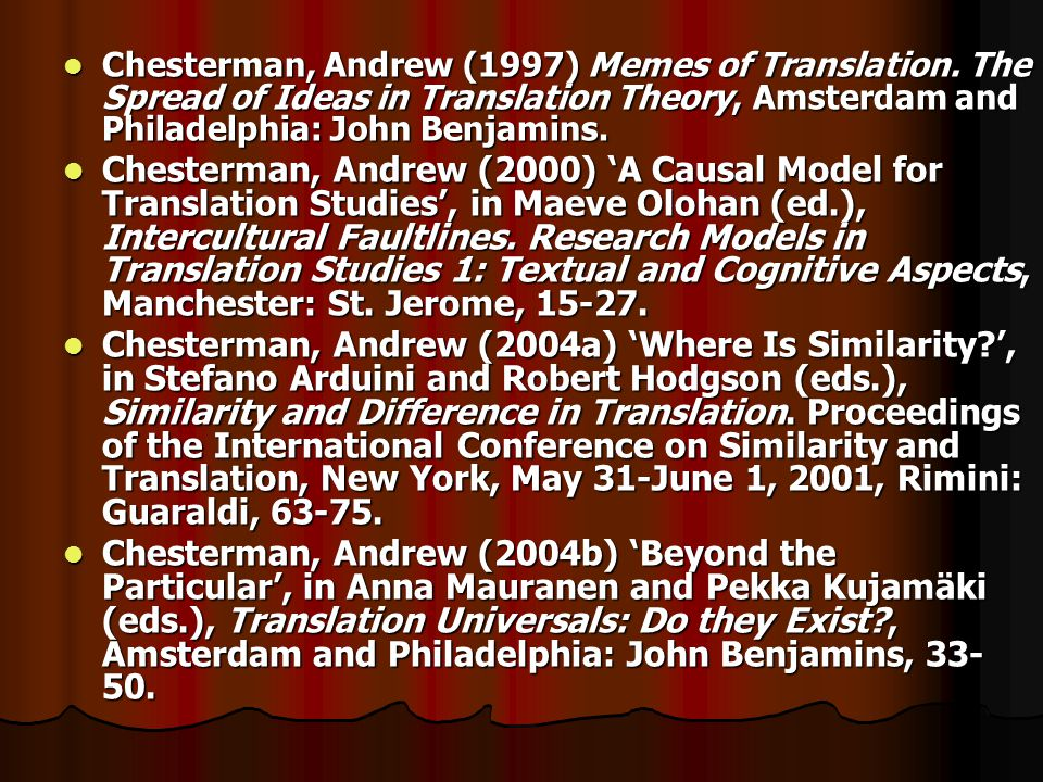 Chesterman, Andrew (1997) Memes of Translation.