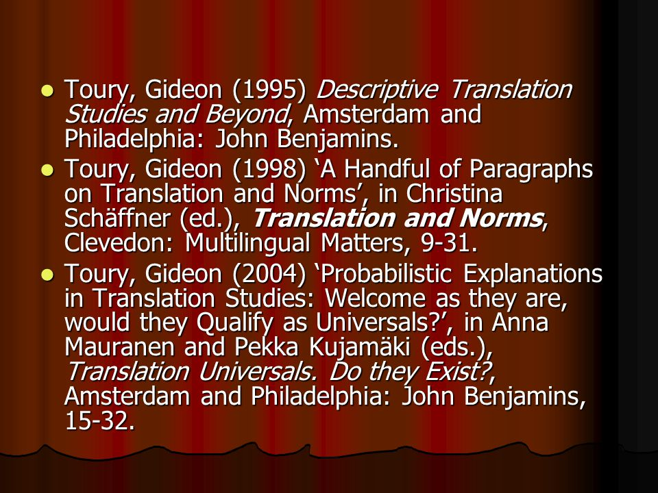 Toury, Gideon (1995) Descriptive Translation Studies and Beyond, Amsterdam and Philadelphia: John Benjamins.