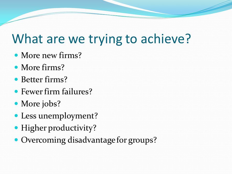 What are we trying to achieve. More new firms. More firms.