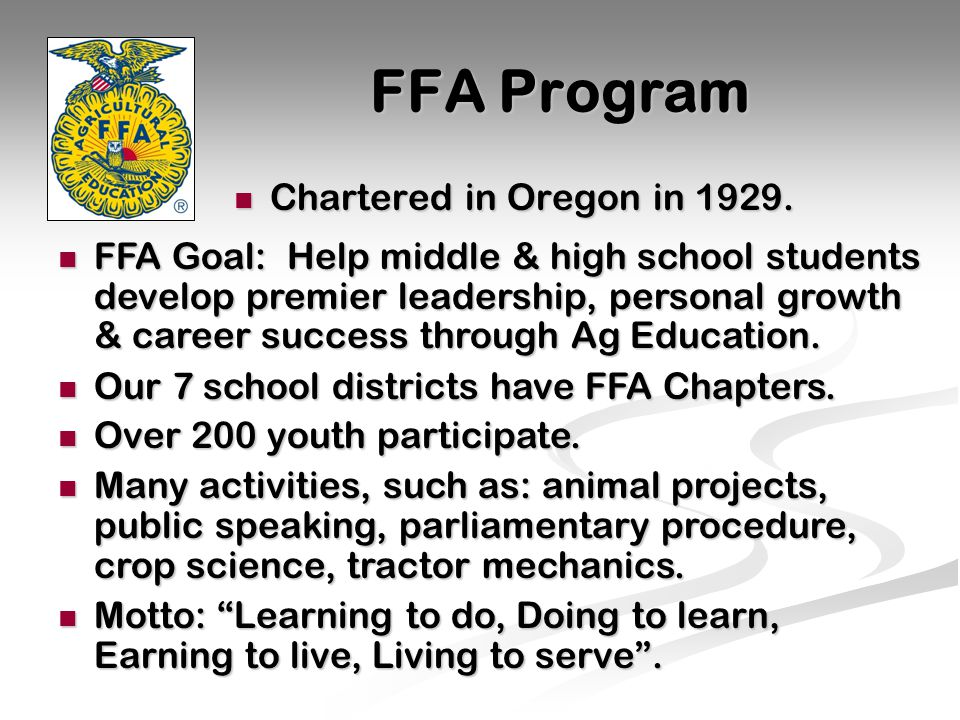 FFA Program Chartered in Oregon in 1929. Chartered in Oregon in 1929.