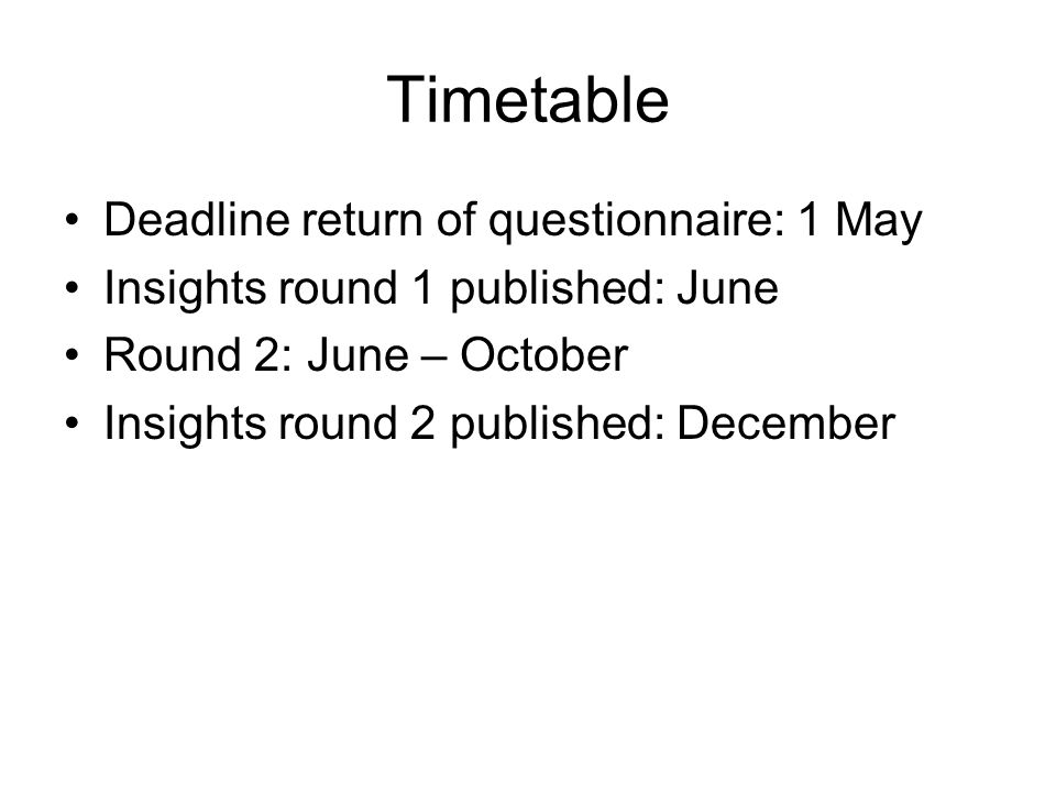 Timetable Deadline return of questionnaire: 1 May Insights round 1 published: June Round 2: June – October Insights round 2 published: December