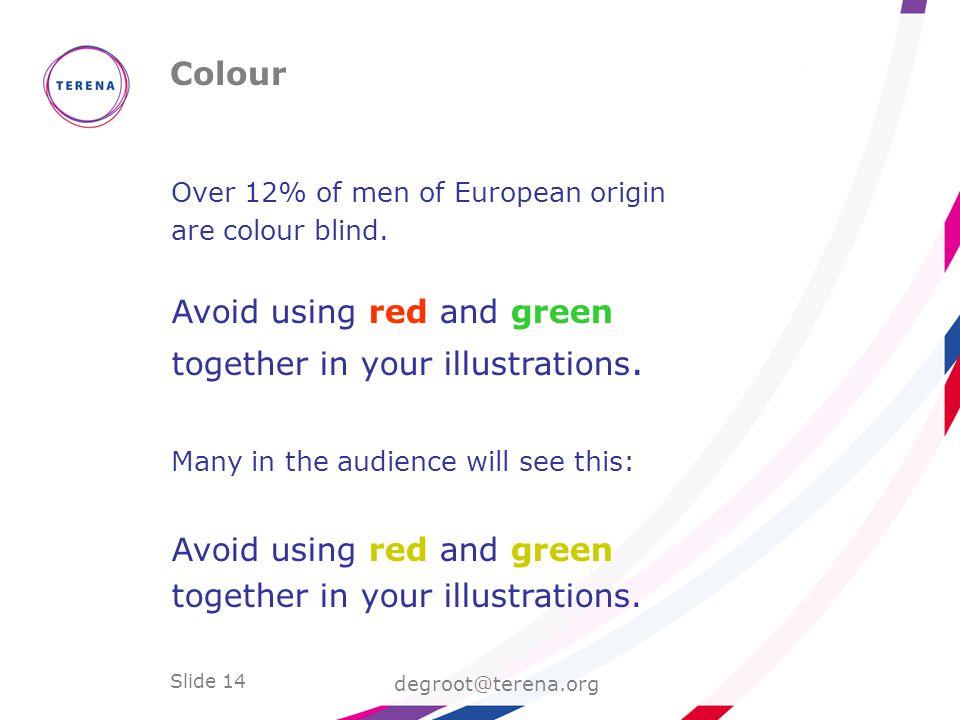Slide 14 Colour degroot@terena.org Over 12% of men of European origin are colour blind.