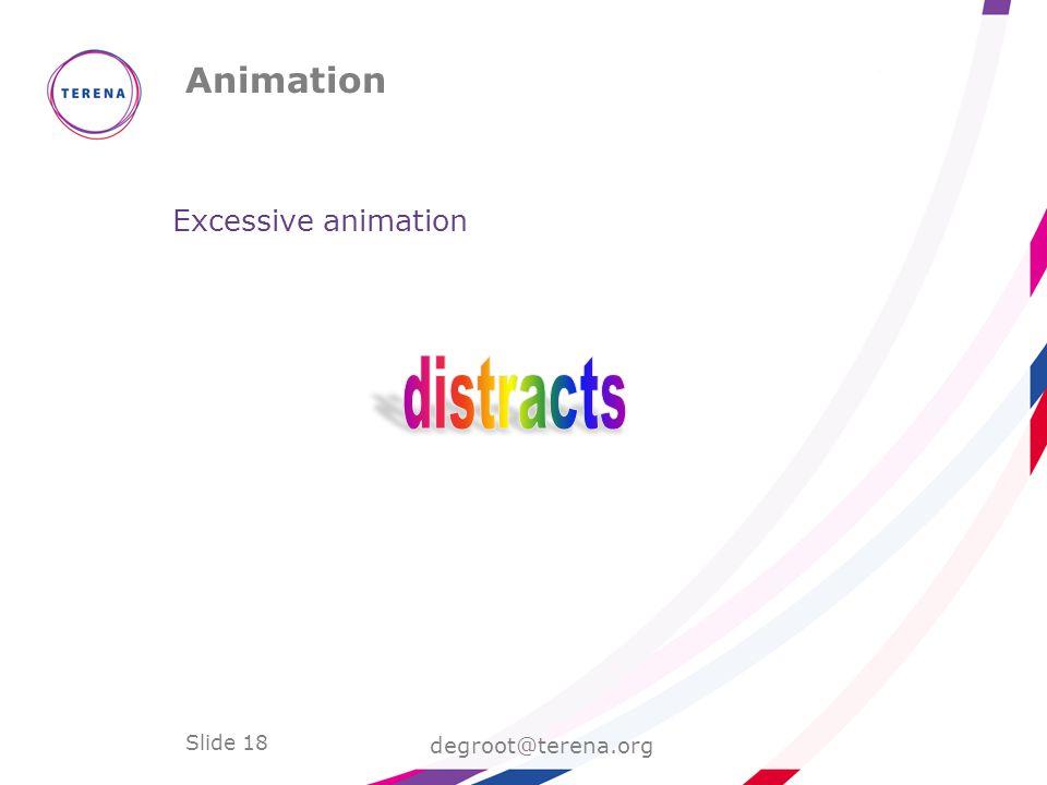 Slide 18 Animation degroot@terena.org Excessive animation