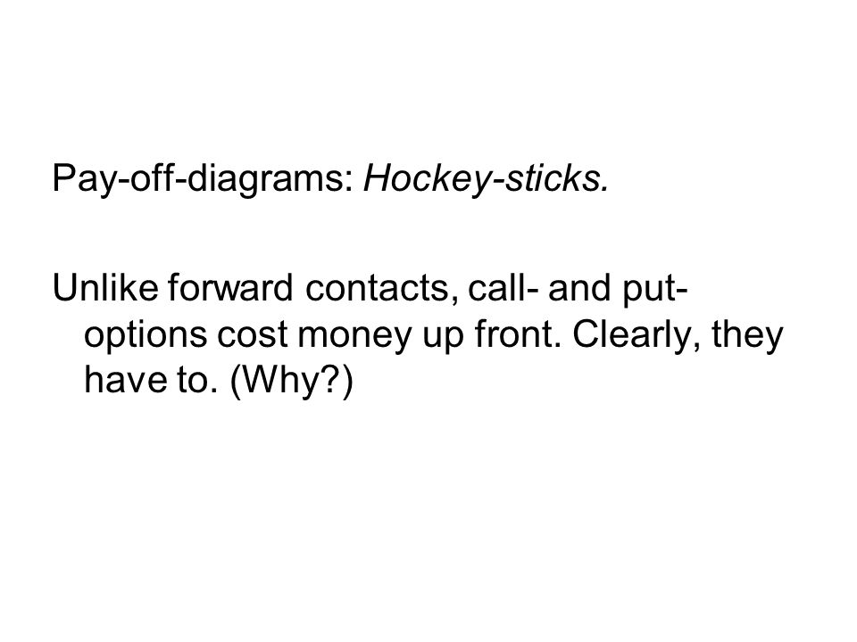 Pay-off-diagrams: Hockey-sticks. Unlike forward contacts, call- and put- options cost money up front. Clearly, they have to. (Why?)