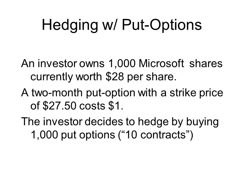 Hedging w/ Put-Options An investor owns 1,000 Microsoft shares currently worth $28 per share.