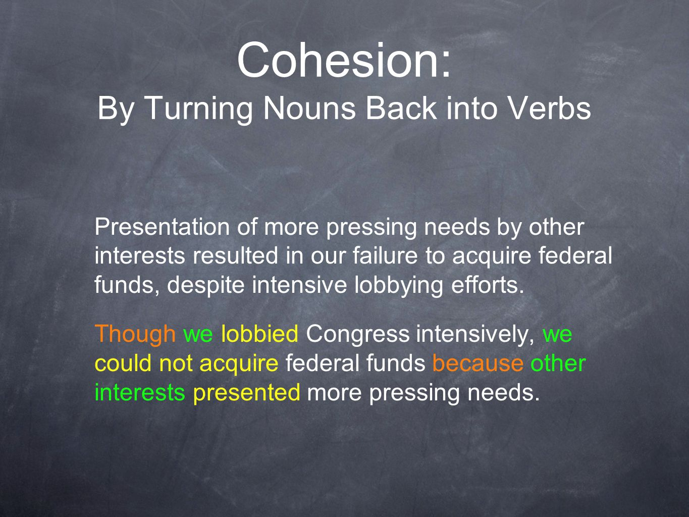 Cohesion: By Turning Nouns Back into Verbs Presentation of more pressing needs by other interests resulted in our failure to acquire federal funds, despite intensive lobbying efforts.