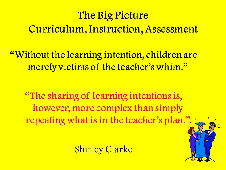 "The Big Picture Curriculum, Instruction, Assessment ""Without the learning intention, children are merely victims of the teacher's whim."" ""The sharing"