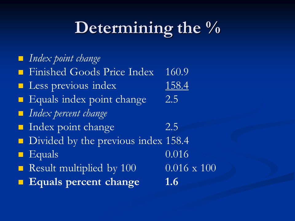 Determining the % Index point change Finished Goods Price Index 160.9 Less previous index 158.4 Equals index point change 2.5 Index percent change Index point change 2.5 Divided by the previous index 158.4 Equals 0.016 Result multiplied by 100 0.016 x 100 Equals percent change 1.6