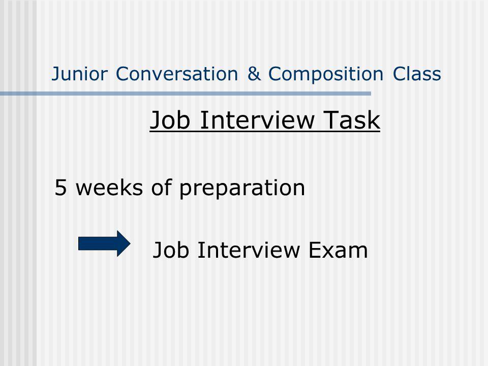 Junior Conversation & Composition Class Job Interview Task 5 weeks of preparation Job Interview Exam