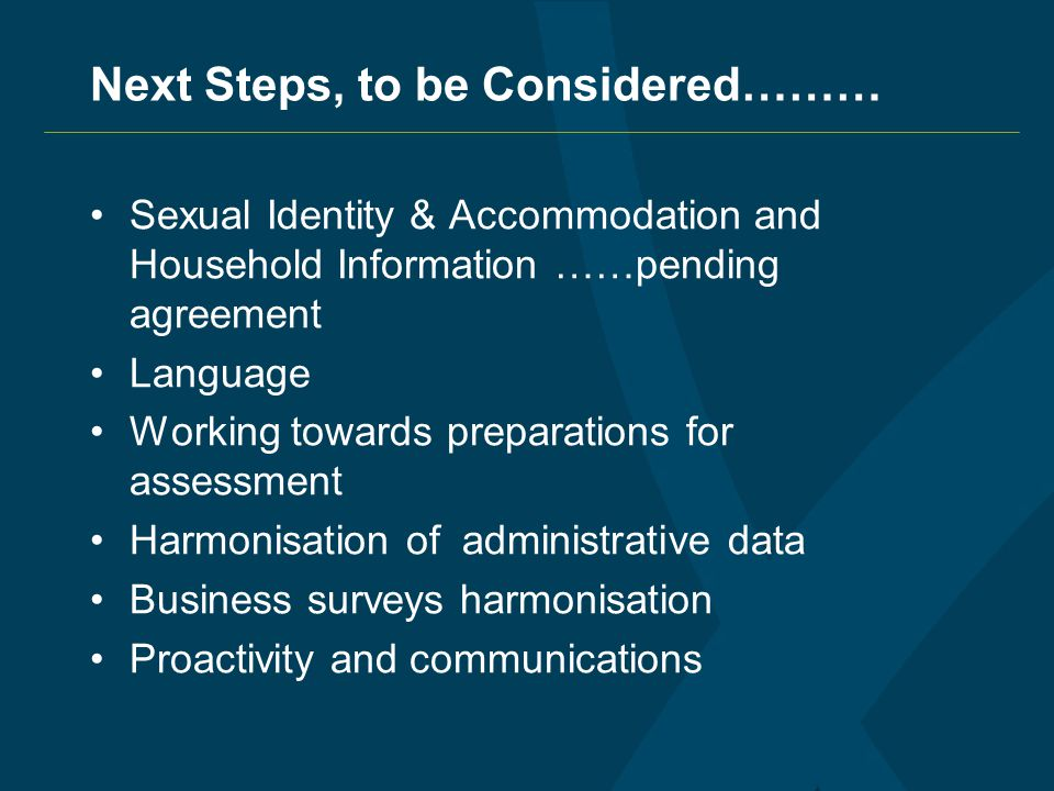 Next Steps, to be Considered……… Sexual Identity & Accommodation and Household Information ……pending agreement Language Working towards preparations for assessment Harmonisation of administrative data Business surveys harmonisation Proactivity and communications
