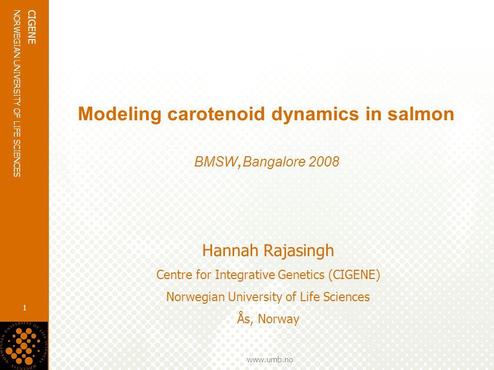 www.umb.no NORWEGIAN UNIVERSITY OF LIFE SCIENCES CIGENE 1 Modeling carotenoid dynamics in salmon BMSW, Bangalore 2008 Hannah Rajasingh Centre for Integrative Genetics (CIGENE) Norwegian University of Life Sciences Ås, Norway