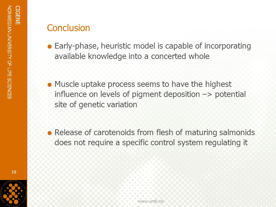 www.umb.no NORWEGIAN UNIVERSITY OF LIFE SCIENCES CIGENE 19 Conclusion  Early-phase, heuristic model is capable of incorporating available knowledge into a concerted whole  Muscle uptake process seems to have the highest influence on levels of pigment deposition –> potential site of genetic variation  Release of carotenoids from flesh of maturing salmonids does not require a specific control system regulating it