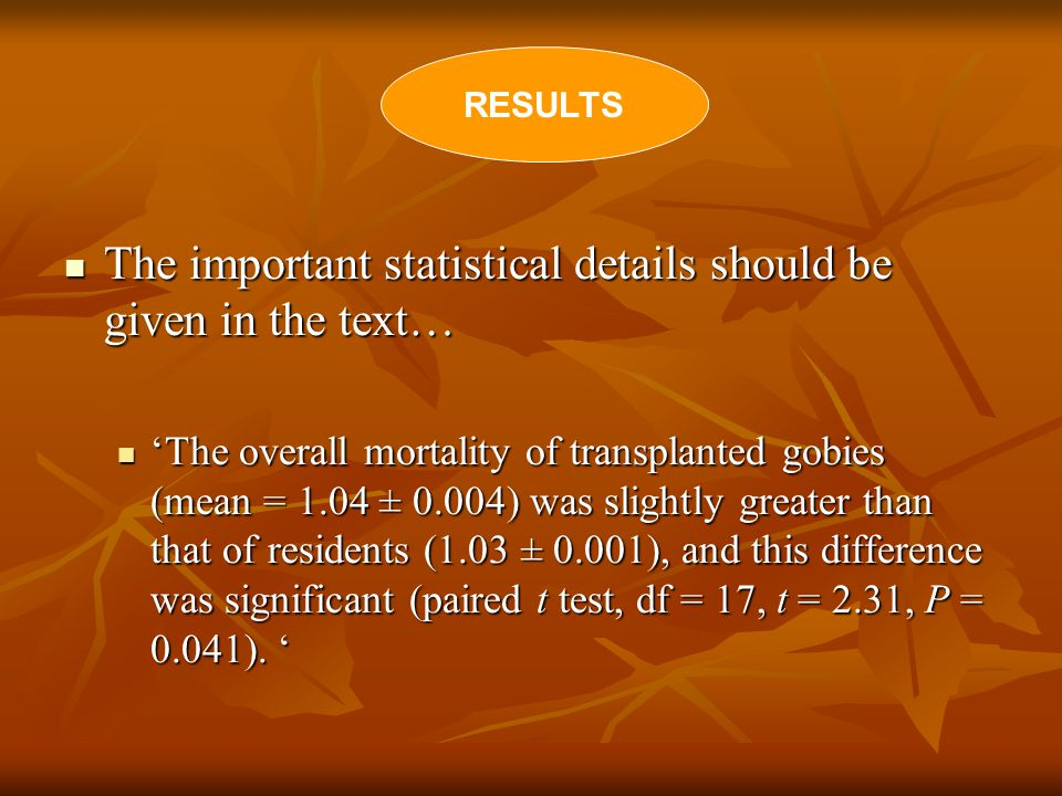 The important statistical details should be given in the text… The important statistical details should be given in the text… 'The overall mortality of transplanted gobies (mean = 1.04 ± 0.004) was slightly greater than that of residents (1.03 ± 0.001), and this difference was significant (paired t test, df = 17, t = 2.31, P = 0.041).